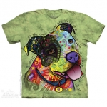Pre. เสื้อยืดพิมพ์ลาย 3D The Mountain T-shirt : American Bulldog painted green background 3d stereoscopic