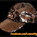 หมวก Cap ปักเกล็ดเลื่อมสีน้ำตาล