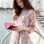 (Pre-Order) ชุดเดรสยาว แขนขาว ชิ้นเดียวทั้งชุด ผ้าชีฟอง พิมพ์ลายดอกไม้ เอวยางยืด แฟชั่นหวาน ๆ สไตล์เกาหลี สีชมพู-ม่วง