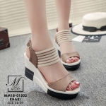 รองเท้าแฟชั่นนำเข้าส้นเตารีดสไตล์เกาหลี วัสดุหนังกลับ ผสม pu อย่างดี น้ำหนักเบา สูง 9cm