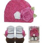 Luvena Fortuna Girls Knit Hat & Socks กิ๊ฟเซ็ตของขวัญหมวกและถุงเท้าเด็กหญิงรูปดอกกุหลาบ 0-12เดือน