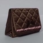 กระเป๋าเครื่องสำอางค์ นารายา ผ้าซาติน สีน้ำตาล มีกระจกในตัว Size L (กระเป๋านารายา กระเป๋าผ้า NaRaYa)