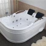 อ่างอาบน้ำเข้ามุมสำหรับ2คน ขนาด1.6-1.9เมตร อ่างน้ําจากุซซี่ อ่างอาบน้ำวน อ่างสปา อ่างจากุชชี่ อ่างอาบน้ํา อ่างแช่น้ำ สุขภัณฑ์ อ่างอาบน้ําราคาถูก 1.6-1.9M 2-Person Bathtub White Corner Fitting Unit Jetted Whirlpool Bathtub with Hydro Massage (A01)