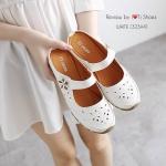 รองเท้าเพื่อสุขภาพ ทำจากหนังนิ้มนิ่ม พื้นยางอย่างดีฉลุลายดอกไม้สวยงาม