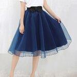 พรีออเดอร์ กระโปรง tutu ผู้ใหญ่ กระโปรงยาว กระโปรงบาน กระโปรง Princess tutu skirt ผ้าชีฟองชั้นเดียวสีน้ำเงิน กระโปรงออกงาน