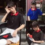 [Preorder] เสื้อแขนสั้นปกโปโลสีแดงมีซิบห่วงวงกลม มีสีดำ/น้ำเงิน