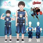' ( 4-6-8 ) ชุดแฟนซี เด็กผู้ชาย Thor - Super Hero - The Avengers สีน้ำเงิน เสื้อแขนสั้น กางเกงขาสั้น สกรีนลายธอร์มีไฟที่หน้าอก เพื่อให้คุณหนูๆได้สนุกกับชุดsuper hero คนโปรดตามจิตนาการ ชุดสุดเท่ห์ ใส่สบาย ลิขสิทธิ์แท้