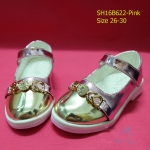 L16B622 - Pink รองเท้าเด็กผู้หญิง สีทอง-ชมพู ใส่ไปงานแต่ง งานเลี้ยง ไซส์26-30