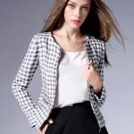 (Pre-order) ZK เสื้อสูทแฟชั่น เสื้อแจ๊คเก็ต ลายสก๊อตขาว-ดำ
