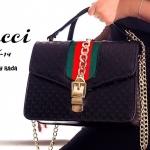 กระเป๋าแฟชั่นสไตล์Gucci(Shop the Sylvie leather shoulder bag by Gucci) แถบเขียว-แดง