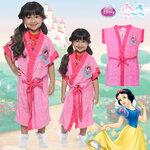 ( For Kids ) - Snow White - Disney Princess ชุดคลุมว่ายน้ำ เด็กผู้หญิง เจ้าหญิง สโนไวท์ สีชมพุเข้ม สุดน่ารัก ผ้าดี ลิขสิทธิ์แท้ ( สำหรับเด็กอายุ 4-14 ปี )