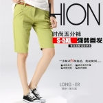 Pre-Order กางเกงขาสั้น ผ้าฝ้ายสีเขียวมัสตาด แฟชั่นฤดูร้อนสไตล์เกาหลีปี 2015
