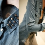 Pre-Order เสื้อเชิ้ตยีนส์ บลูยีนส์ แขนยาว ปักหมุดที่ปกเสื้อ แฟชั่นเสื้อยีนส์สไตล์เกาหลีปี 2014 สำเนา