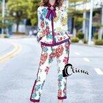 ชุดเซทแฟชั่น เสื้อ+กางเกง ดีเทลชุดSetงานแบรนด์ ชุดนี้ดูหรูดูแพงและมีลวดลายดอกไม้