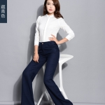 Pre-Order กางเกงแฟชั่นผู้หญิง กางเกงทำงานขาตรง ขากระบอกใหญ่ ผ้าฝ้ายผสมเส้นใยสังเคราะห์ สีกรม
