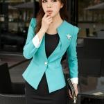 เสื้อสูทผู้หญิง สูทบาง ฝีมือตัดเย็บระดับ High -end เสื้อผ้าแฟชั่นสไตล์เกาหลี แขนยาว สีฟ้า