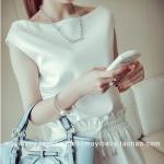 Pre-order ชุดเดรสกางเกงขายาว เสื้อแขนกุด ผ้าซาตินเนื้อดี สีขาว แฟชั่นเกาหลีปี 2014