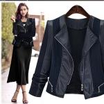 Pre-Order เสื้อแจ็คเก็ตยีนส์ผู้หญิง คอกลม ไม่มีปก ผ้าผสมหนังเทียม PU สีกรมท่า Big size อก 39 - 47 นิ้ว