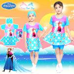 ( For Kids ) ชุดว่ายน้ำเด็ก Swimsuit for Girl Disney Frozen บอดี้สูท เสื้อแขนยาวกระโปรงกางเกง สีชมพู/ฟ้า มาพร้อมหมวกว่ายน้ำและถุงผ้า สุดน่ารัก ใส่สบาย ดิสนีย์แท้ ลิขสิทธิ์แท้