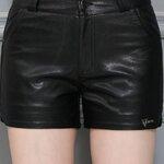 (พร้อมส่ง) กางเกงหนัง กางเกงหนังขาสั้น สีดำ ทำจากหนังแกะสังเคราะห์ หนังเนื้อนิ่ม งาน Premium Quality กระเป๋า 2 ข้างใช้งานได้
