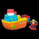 z Sesame Street Elmo Bath Advanture Playskool Steamboat Toy
