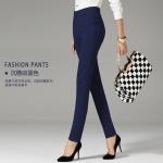 Pre-Order กางทำงานผู้หญิง กางเกงลำลอง กางเกงสแล็ค ขาตรง ขอบเอวผ้ายืด พอดีตัว สีกรมท่า