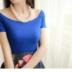 (Pre-Order) เสื้อยืดลำลองคอกว้าง เสื้อยืดผ้าฝ้าย modal สีน้ำเงิน