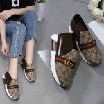 รองเท้าผ้าใบ gucci แฟชั่นแบบสวมslip on วัสดุพื้นPu งานผ้าชายแบรนด์ คาดโลโก้สุดชิค