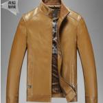 Pre-Order เสื้อแจ็คเก็ตหนังแท้ ผิวกำมะหยี่ สีน้ำตาลเหลือง (112)