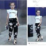 เสื้อผ้าเด็กผู้หญิง ชุดเสื้อสีขาว กางเกงสีดำ