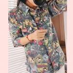 Pre-Order เสื้อเชิ้ตยีนส์ พิมพ์ลายการ์ตูนน่ารักมาก เสื้อแขนยาว แฟชั่นเสื้อยีนส์สไตล์เกาหลีปี 2014
