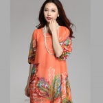 (Pre-Order) เดรสผ้าชีฟอง แขนสั้น มีซับใน พิมพ์ลายขนนกยูงโทนสีส้ม แฟชั่นสไตล์เกาหลี ปี 2015