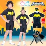 ( For Kids ) Swimsuit for Boy ชุดว่ายน้ำ เด็กผู้ชาย Bat Man ชุดบอดี้สูทสีดำ มาพร้อมหมวกว่ายน้ำและถุงผ้า สุดเท่ห์ ใส่สบาย ลิขสิทธิ์แท้