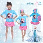 """""""( For Kids ) Swimsuit for Girls ชุดว่ายน้ำ Disney Frozen Elsa & Anna สีฟ้า เสื้อแขนสั้น กระโปรงสั้น ลายเจ้าหญิงอันนา เจ้าหญิงเอลซ่า ชุดว่ายน้ำเด็กผู้หญิง เจ้าหญิงดิสนีย์ ของแท้"""