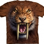 Pre.เสื้อยืดพิมพ์ลาย3D The Mountain T-shirt : Sabertooth Tiger