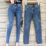 กางเกงแฟชั่น กางเกงยีนส์สไตล์เกาหลี ทรงเอวกลาง งานผ้ายีนฟอกสีสวยมาก