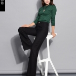 Pre-Order ลด 50% กางเกงแฟชั่นผู้หญิง กางเกงทำงานขาตรง ขากระบอกใหญ่ ผ้าฝ้ายผสมเส้นใยสังเคราะห์ สีดำ