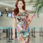 Pre-Order ชุดเดรสทำงาน ชุดแสคทำงาน ผ้าไหมแท้จากจีน พิมพ์ลายดอกกุหลาบ แขนสั้น สไตลฺ์ Luxury แฟชั่นสไตล์เกาหลี ปี 2014 บิ๊กไซส์