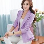 Pre-Order เสื้อสูทแฟชั่นทำงาน เสื้อสูทผู้หญิงสีม่วง สูทคอวี คอปก แขนยาว แต่งระบายรอบเอว แฟชั่นชุดทำงานสไตล์เกาหลี