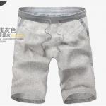 (Pre-Order) กางเกงขาสั้น กางเกงลำลอง ผ้าลินินสีเทา แฟชั่นฤดูร้อนสำหรับผู้ชาย