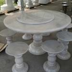 โต๊ะหินอ่อนขนาด สีหยกขาว 130 เซนติเมตร เก้าอี้ 8 ตัว โต๊ะสูง 80 เซนติเมตร + จานหมุน 70 เซนติเมตร