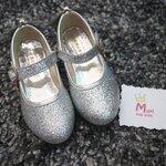 รองเท้าคัทชูเด็กสีเงิน มีส้น