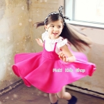 ชุดเดรสเด็กหญิง เดรสกระโปรงสีชมพู PinkIdeal