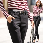 Pre-Order กางเกงทำงานผู้หญิง ทรงตรง ผ้าฝ้ายผสม สีดำ