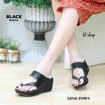 """รองเท้าลำลองแบบสวมโป้งส้นเตารีดสูง 2"""" ดีไซส์สายไขว้แต่งเฉลียง เย็บขอบอย่างดี วัสดุหนัง pu"""