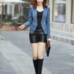 pre-order เสื้อยีนส์แจ็คเก็ตผู้หญิง แฟชั่นเกาหลีสไตล์คาวบอย