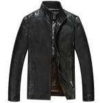 Pre-Order เสื้อแจ็คเก็ตหนังแท้ ผิวกำมะหยี่ สีดำ(112)