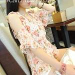 (Pre-Order) เสื้อเปิดไหล่ พิมพ์ลายดอกไม้ ผ้าชีฟอง เสื้อลำลอง แฟชั่นฤดูร้อน สไตล์เกาหลีปี 2014