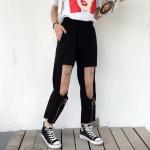 [Preorder] กางเกงขายาวสีดำ 9 ส่วนมีช่องที่ด้านหน้า มีซิปตรงปลาย