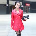พรีออเดอร์ เสื้อแจ็คเก็ตหนังแท้ เสื้อโค๊ทหนัง เสื้อหนังแกะ แฟชั่นเสื้อหนัง คอปก สีแดง